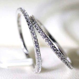 NEW 18K WHITE GOLD DIAMOND ETERNITY STACKABLE RING